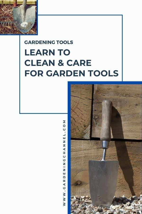 pala, rastrillo y pala con texto superpuesto herramientas de jardinería aprender a limpiar y cuidar las herramientas de jardinería