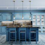 ¿De qué color de pared para una cocina azul?