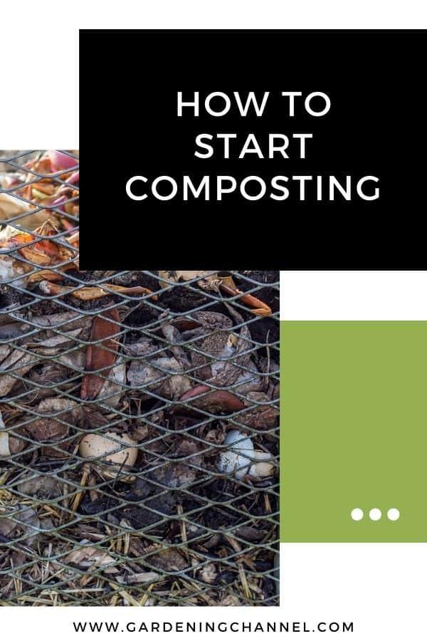 pila de abono con superposición de texto cómo empezar a compostar